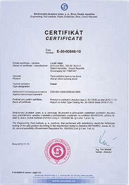 Certifikát - teplovzdušná pec HEATER
